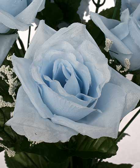 19 Light Blue Open Rose Floral Bush  Its a Boy Theme Baby Shower  Baby Shower Supplies