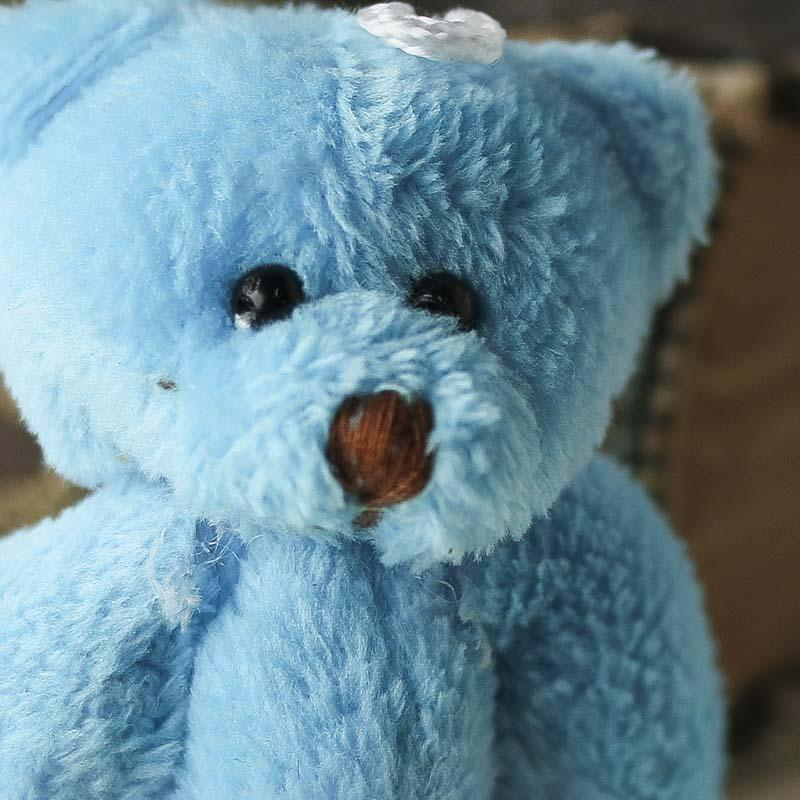 Miniature Plush Jointed Blue Teddy Bear  Muslin Dolls and Animals  Doll Making Supplies