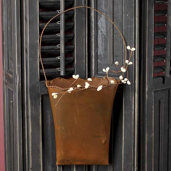 Rusty Tin Hanging Flower Pocket  Baskets Buckets