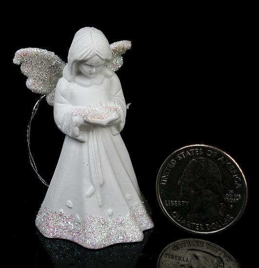 Set of 4 White Porcelain Angel Ornaments  Christmas Ornaments  Christmas and Winter  Holiday