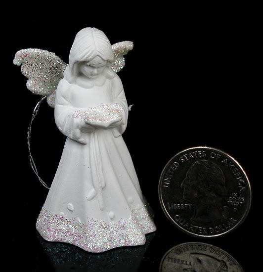 Set of 4 White Porcelain Angel Ornaments  Christmas