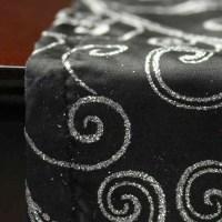 Black with Silver Glitter Swirls Satin Table Runner ...