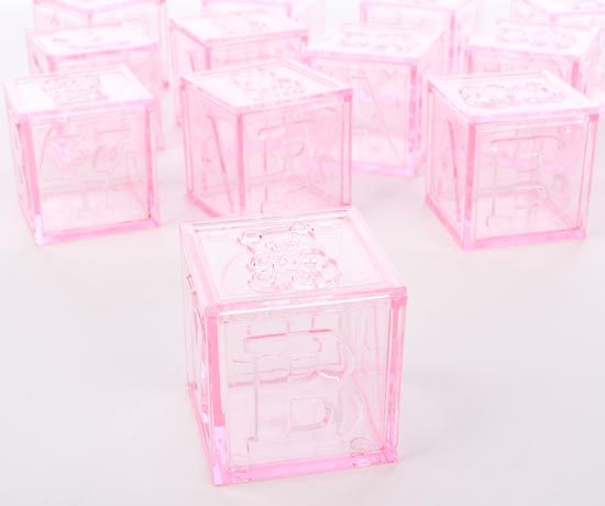 Translucent Pink Baby Block Fillable Favors