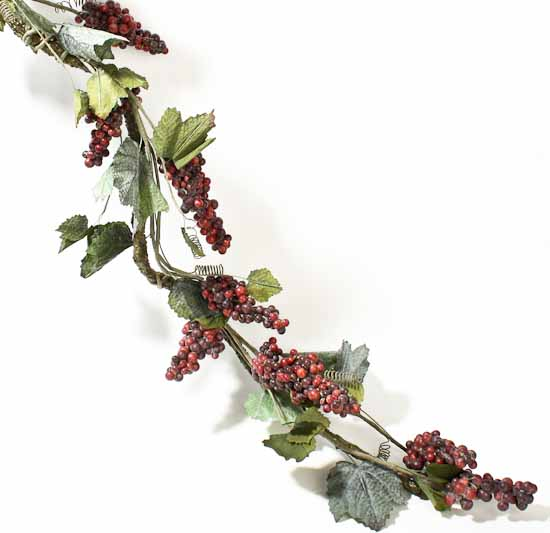 6 Deluxe Artificial Grapevine Garland With Burgundy