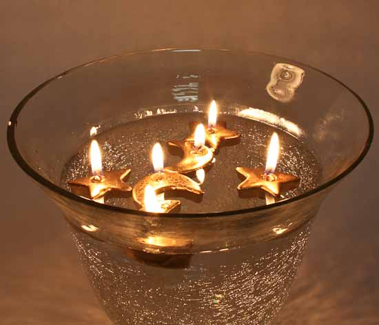 Gold Moon and Stars Floating Candles  Candles and Accessories  Home Decor