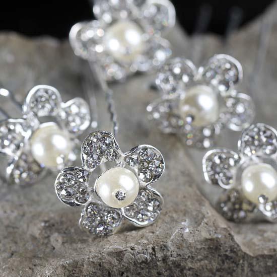 Rhinestone And Pearl Flower Hair Pins Wedding Wear