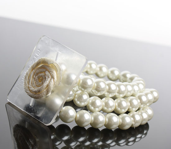 Avery Champagne Beaded Stretch Wristlet Flower Corsage Bracelet  Corsage  Boutonniere Supplies