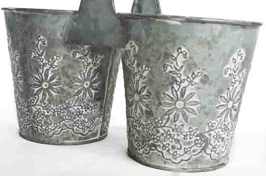 Galvanized Embossed Double Flower Pot  Planters