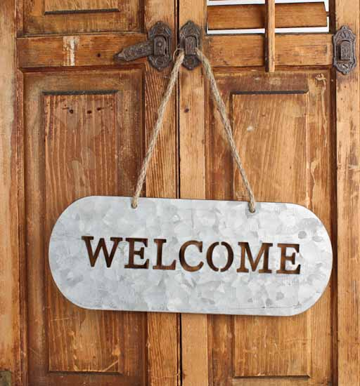 Rustic Galvanized Metal Welcome Sign Home Decor
