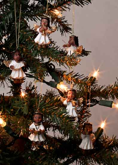 Miniature African American Angel Ornaments  Christmas Ornaments  Christmas and Winter