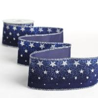 Navy Blue Velvet and Silver Stars Ribbon - Ribbons and ...