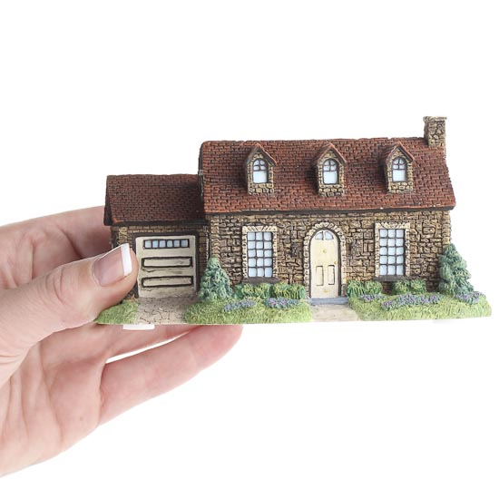 miniature fairy garden stone cottage