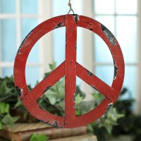 "8"" Groovy Metal Peace Sign Ornament - Wall Decor - Home Decor"
