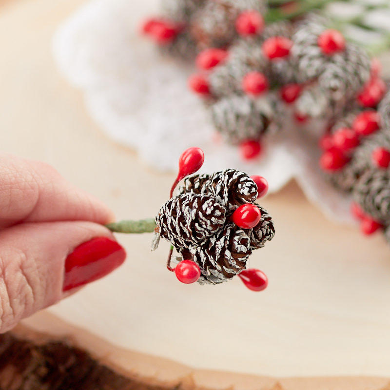 Miniature Frosted Pinecone and Berry Picks  Whats New  Dollhouse Miniatures  Doll Making