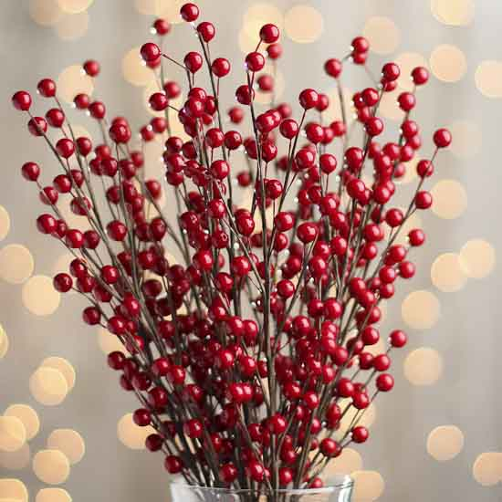 Glossy Red Berry Floral Sprays Pip Berries Primitive Decor