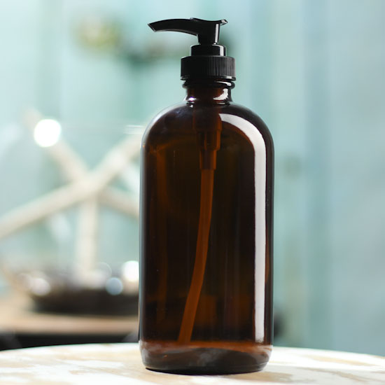 Round Amber Glass Apothecary Bottle Dispenser  Soap