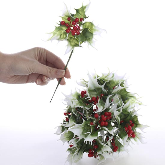Vinyl Artificial Holly Floral Picks  Holiday Florals  Christmas and Winter  Holiday Crafts