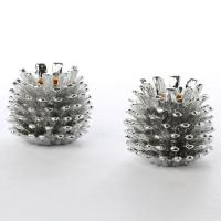Silver Metal Pinecone Candle Holders - Table Decor ...