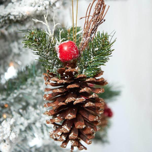 Snowy Woodland Pinecone Ornament - Christmas Ornaments