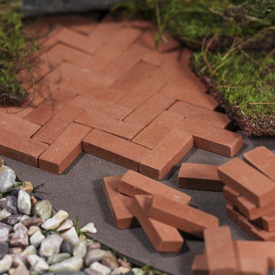 miniature red bricks - fairy garden