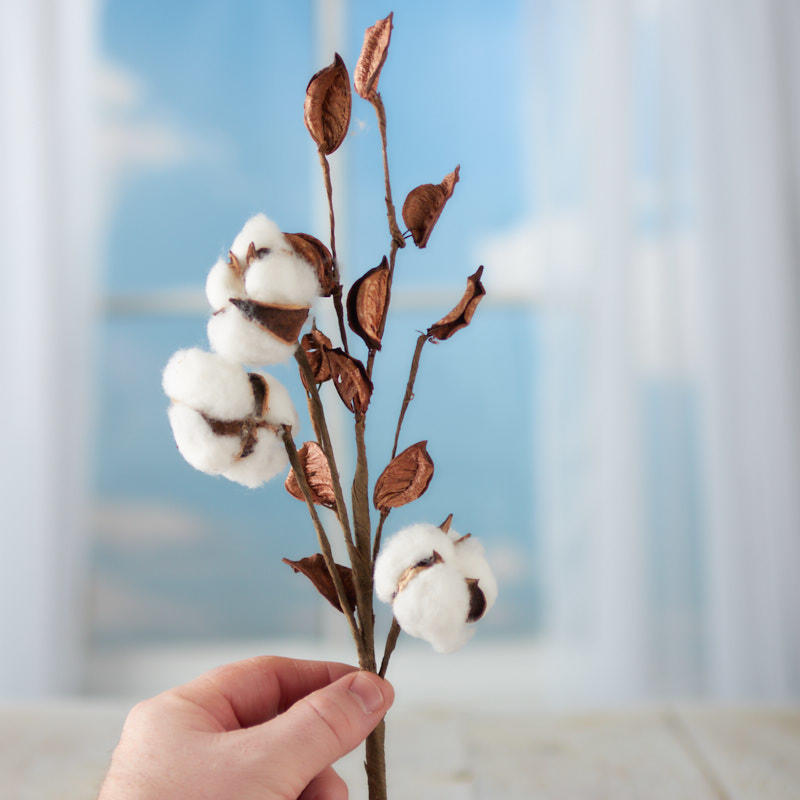 Artificial Cotton Plant Spray  Picks and Stems  Floral Supplies  Craft Supplies