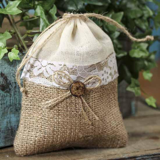 Rustic Burlap Fabric and Lace Trim Bag