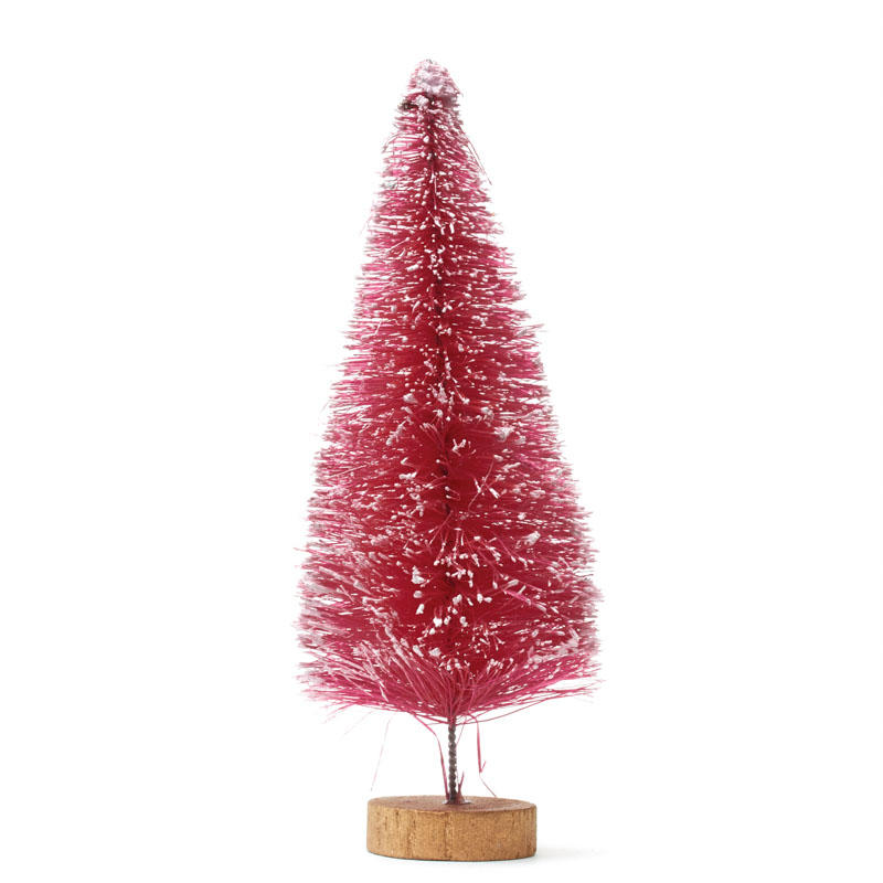 Frosted Pink Bottle Brush Tree  Christmas Miniatures