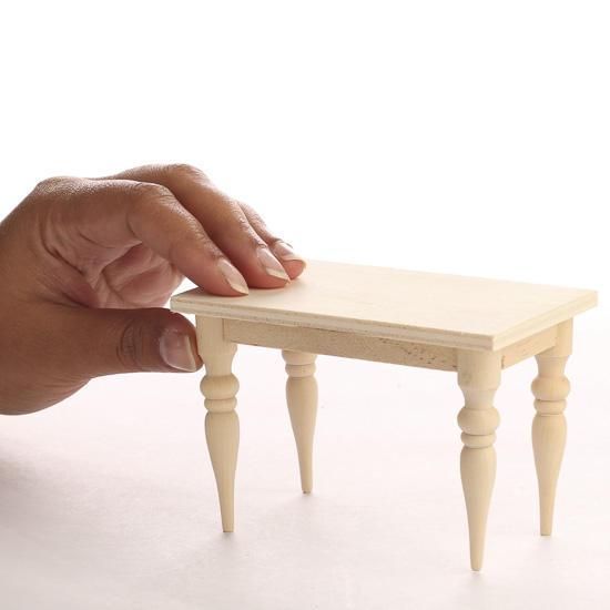 Miniature Unfinished Wood Rectangular Table  Kitchen
