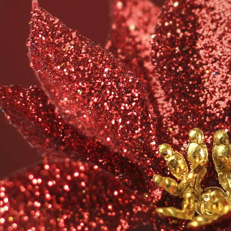 Artificial Red Glitter Poinsettia Pick Christmas Holiday