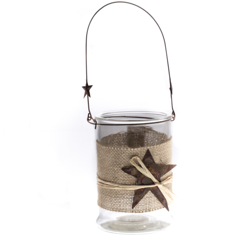 Rustic Hanging Glass Candle Holder