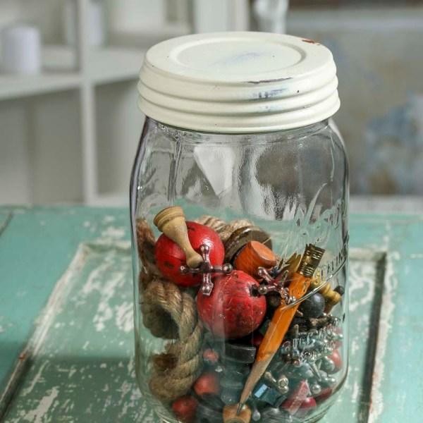 Ivory Washed Wide Mouth Mason Jar Lid - Soap Making