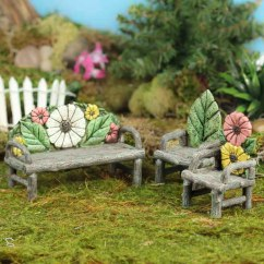 2 Seat Table And Chairs Toddler Wooden Miniature Flower Log Bench Set - Fairy Garden Miniatures Dollhouse ...
