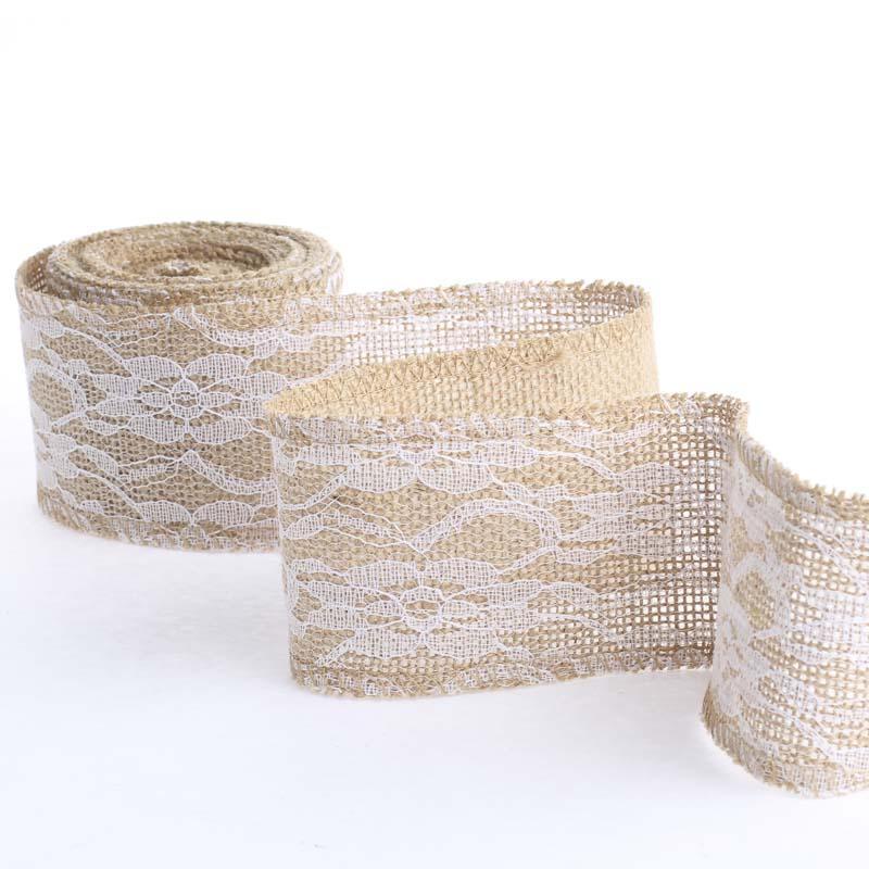 Natural Burlap and Lace Ribbon