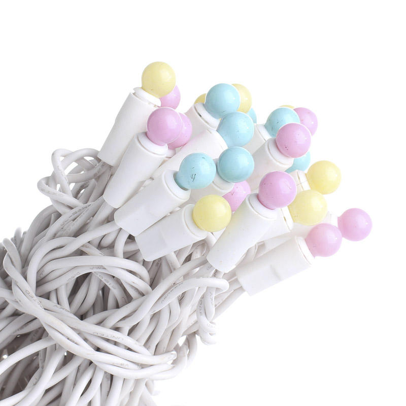 50 Count Pastel Globe Bulb and White Cord String Lights