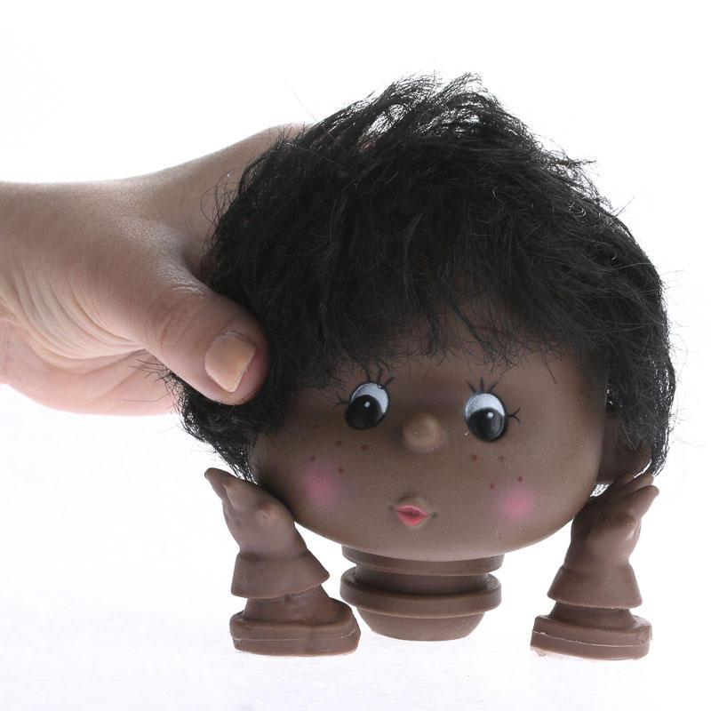 African American Doll Head and Hands  Plastic and Vinyl