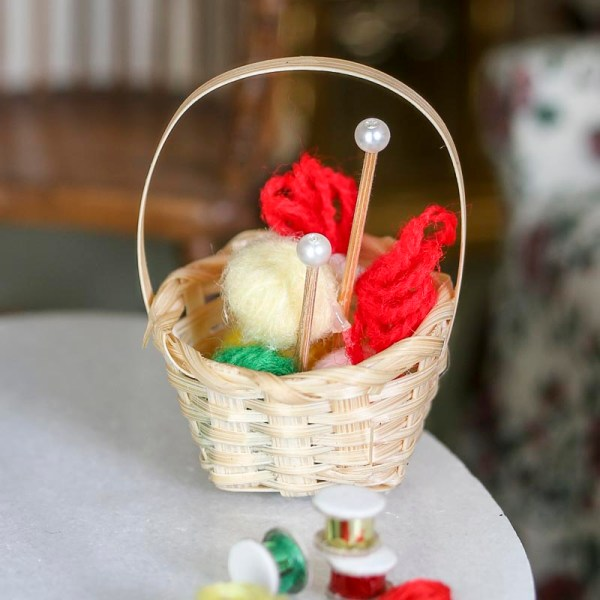 dollhouse miniature knitting basket