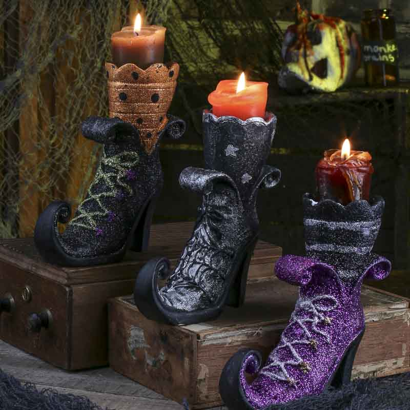 Witch Boot Tea Light Candle Holder  Fall Craft Supplies