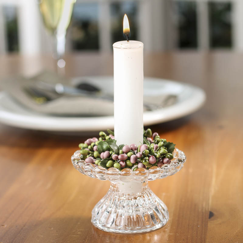 Rose And Green Pip Berry Candle Ring Candles And Accessories Home Decor