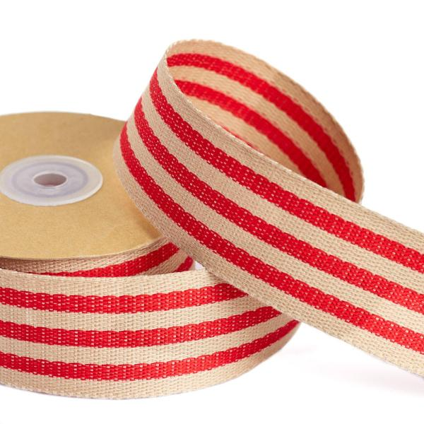 "1-1 2"" Red And Tan Burlap Fabric Ribbon - Trims"
