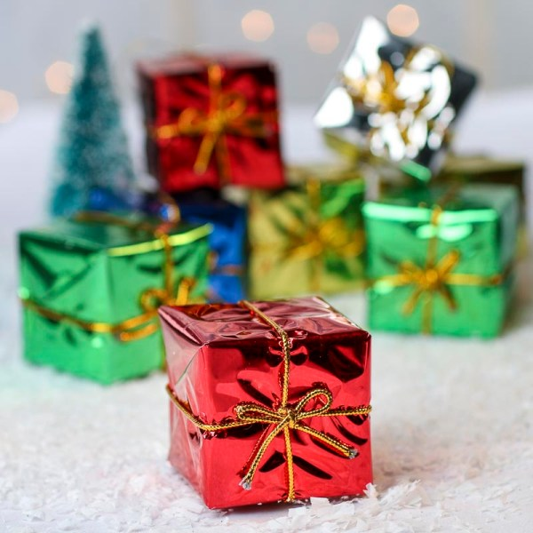 """2"""" Assorted Miniature Foil Wrapped Boxes - Christmas"""