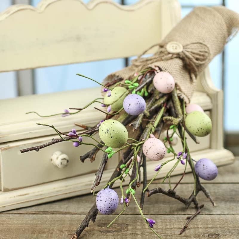 Primitive Artificial Easter Egg and Twig Bundle  Spring