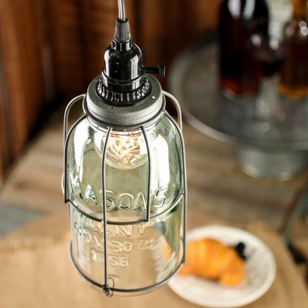 Large Mason Jar Pendant Lamp Kit - Lighting Primitive Decor