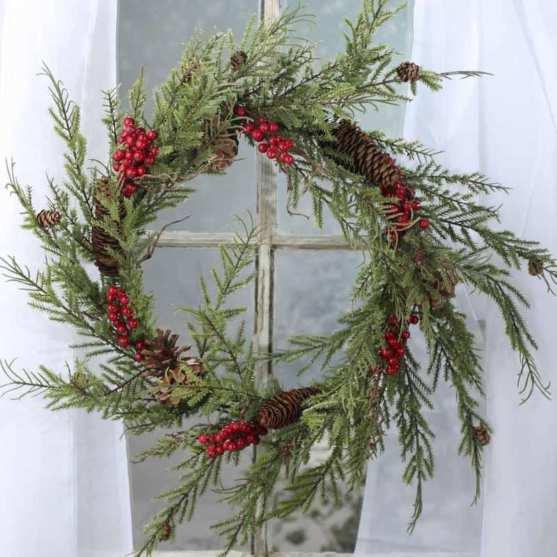 Artificial Cedar and Berry Wreath  Wreaths  Floral Supplies  Craft Supplies