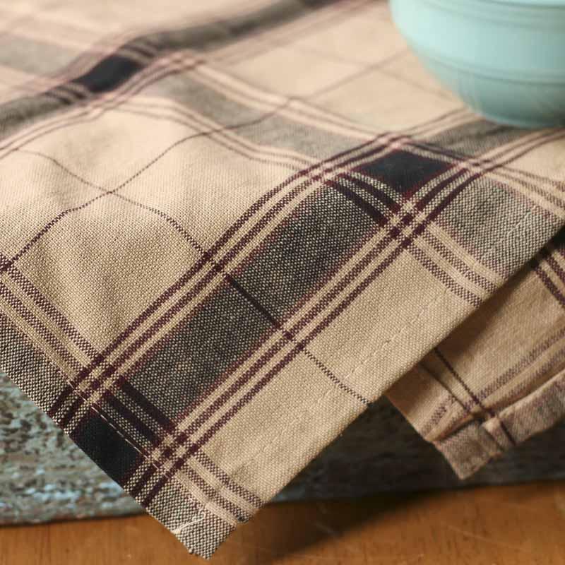 Black And Tan Plaid Cotton Dish Towel Kitchen Towels