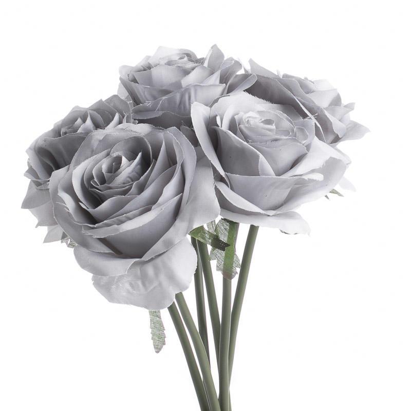 Gray Artificial Open Rose Bouquet  Bushes  Bouquets