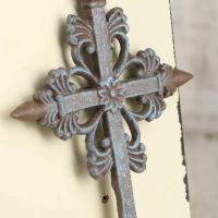 Turquoise and Rusty Tin Wall Cross - Wall Decor - Home Decor