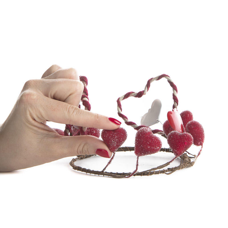 Primitive Sugary Heart Valentines Day Candle Ring