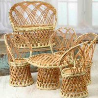 Miniature Wicker Table and Chairs Set - Miniatures Sale ...