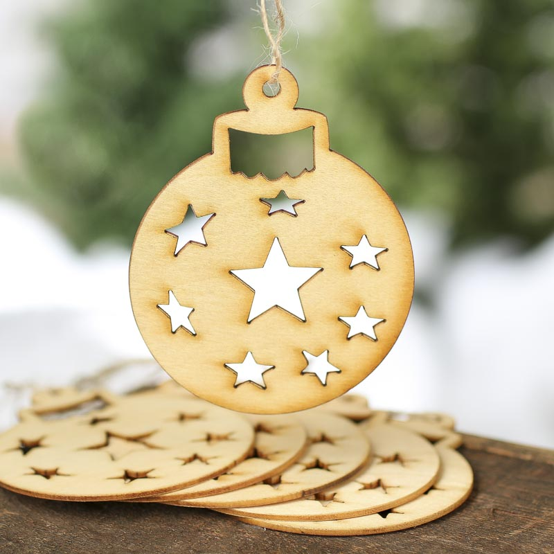 Unfinished Wood Laser Cut Ball Cutout Ornaments
