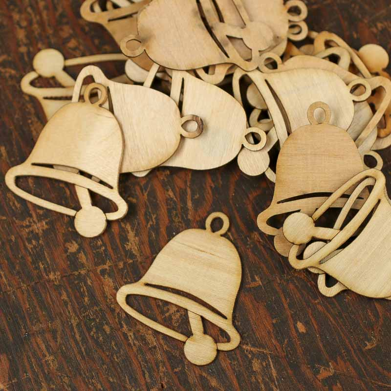 Unfinished Wood Laser Cut Bell Ornaments Christmas